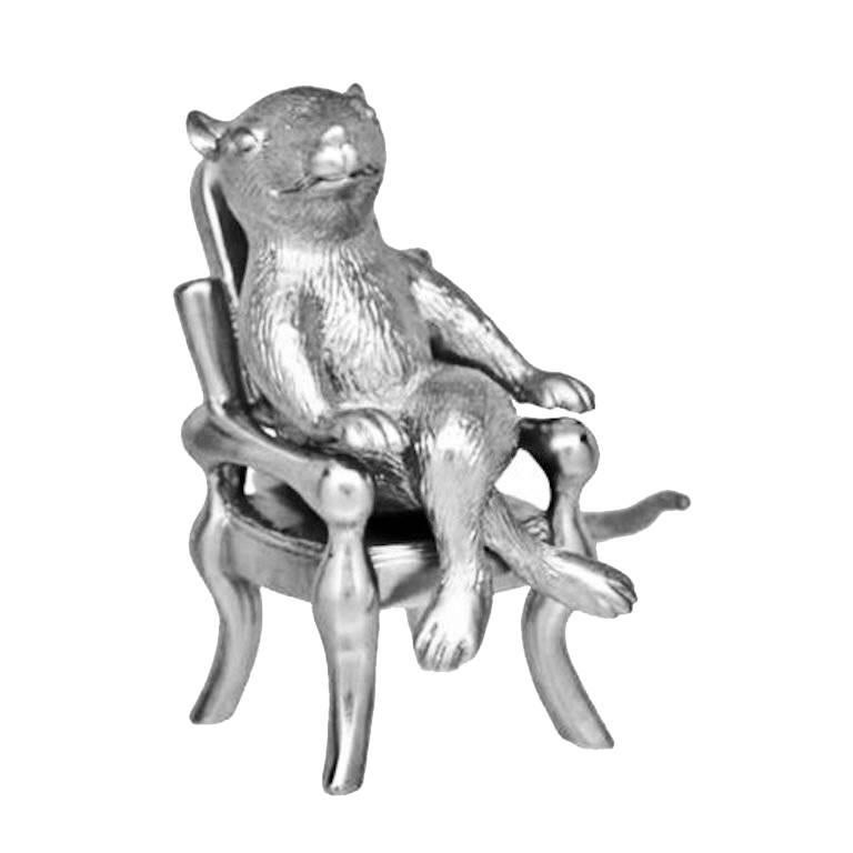 Antique Silver-Plated Bronze Rat by John Landrum Bryant