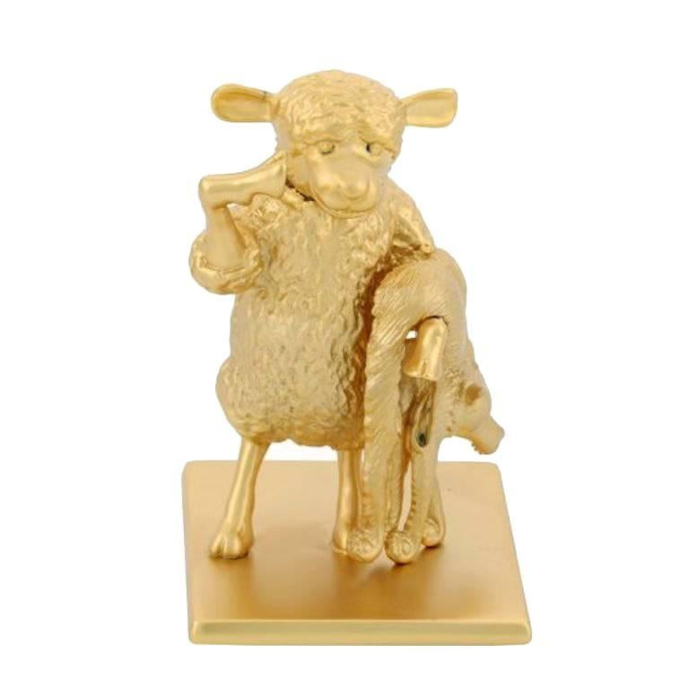 Antique Gold-Plated Bronze Sheep by John Landrum Bryant