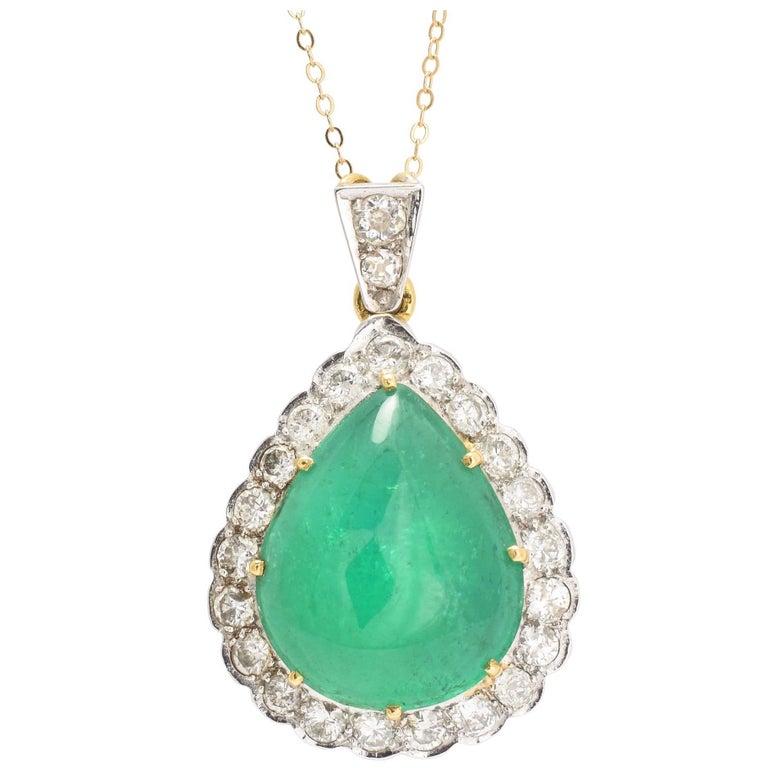 1970s 22.5 Carat Emerald and Diamond Teardrop Pendant