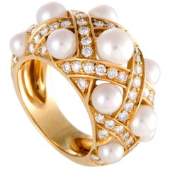 Chanel Baroque Matellase Diamond and Pearl Yellow Gold Band Ring