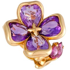 Chanel Camellia Amethyst and Rhodolite Yellow Gold Ring