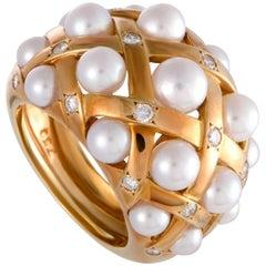 Chanel Matelasse Diamond and Pearl Band Ring