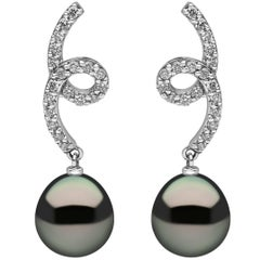 Yoko London Tahitian Pearl and Diamond Drop Earrings set in 18 Karat White Gold