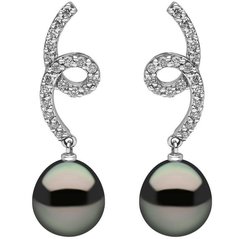 Yoko London Tahitian Pearl and Diamond Drop Earrings set in 18 Karat White Gold