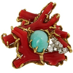 1970s Arthur King, Coral, Diamond, Turquoise and Gold Brooch