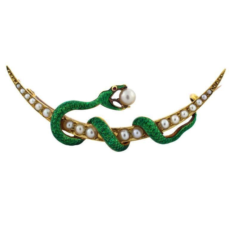 Enamel Seed Pearl Gold Snake Brooch For Sale