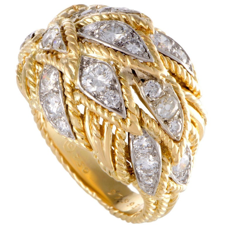 Van Cleef & Arpels Vintage Diamond Gold Bombe Ring