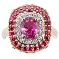 1.64 Carat Sri Lanka Pink Sapphire No Heat Ring with Pink Spinel Diamond Halo