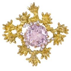 1972 John Donald, Morganite, Diamond and Gold Brooch