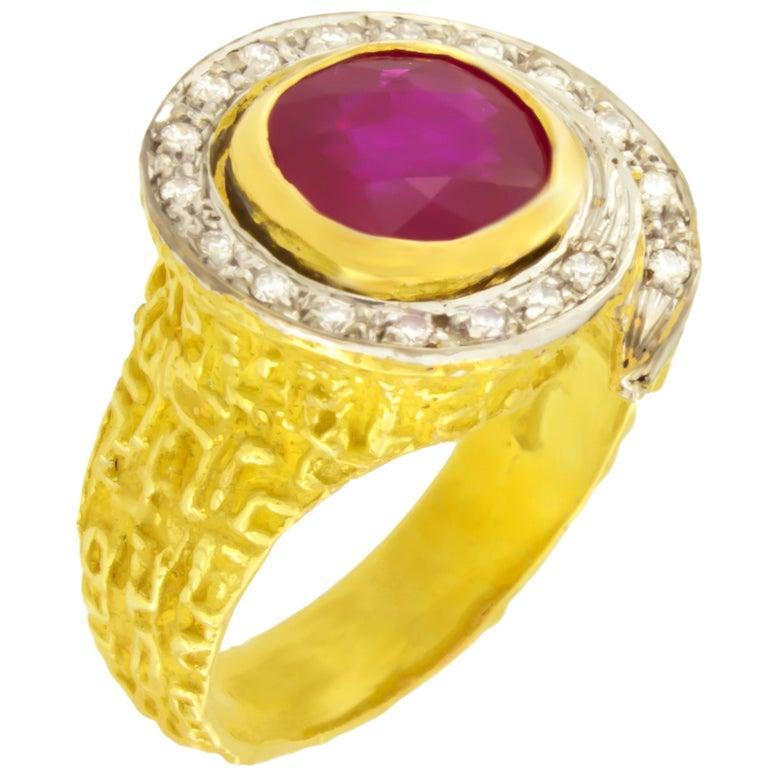 Sacchi 3.5 Carat Round Ruby and Diamonds Gemstone 18 Karat Gold Cocktail Ring
