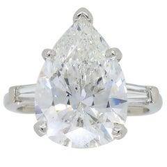 5.09 Carat Pear Shaped Diamond Engagement Ring in Platinum with Two Baguettes