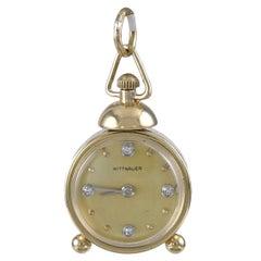 Gold and Diamond Alarm Clock Charm