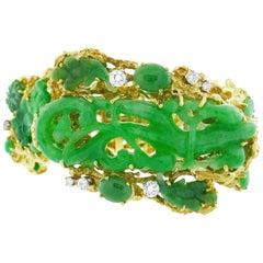 Carved Jade Diamond Yellow Gold Bracelet, 1970s
