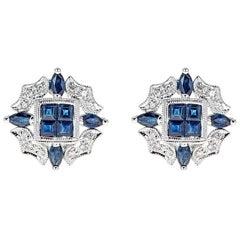 Diamond and Sapphire 14 Karat Gold Earrings
