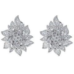Diamond 14 Karat Flower Earrings
