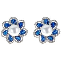 Cultured Pearl Sapphire and Diamond Earrings