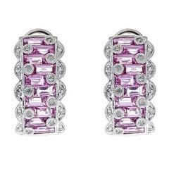 Pink Sapphire and Diamond 14 Karat Gold Earrings