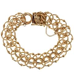 Gold Beaded Wire Swirl Double Spiral Link Bracelet
