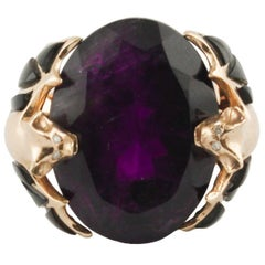 Diamonds Onyx Citrine Rose Gold Ring