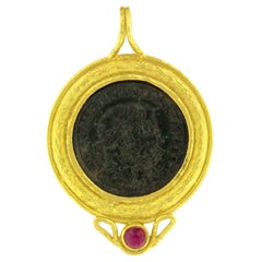 Sacchi Ancient Roman Coin and Tourmaline Gemstone 18 Karat Yellow Gold Pendant