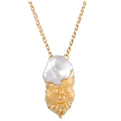 18 Karat Yellow Gold White Pearl Gnome Pendant Necklace