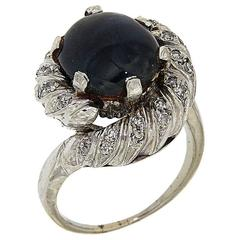 1950s Cabochon Blue Sapphire Diamonds White 18 Carat Gold Ring