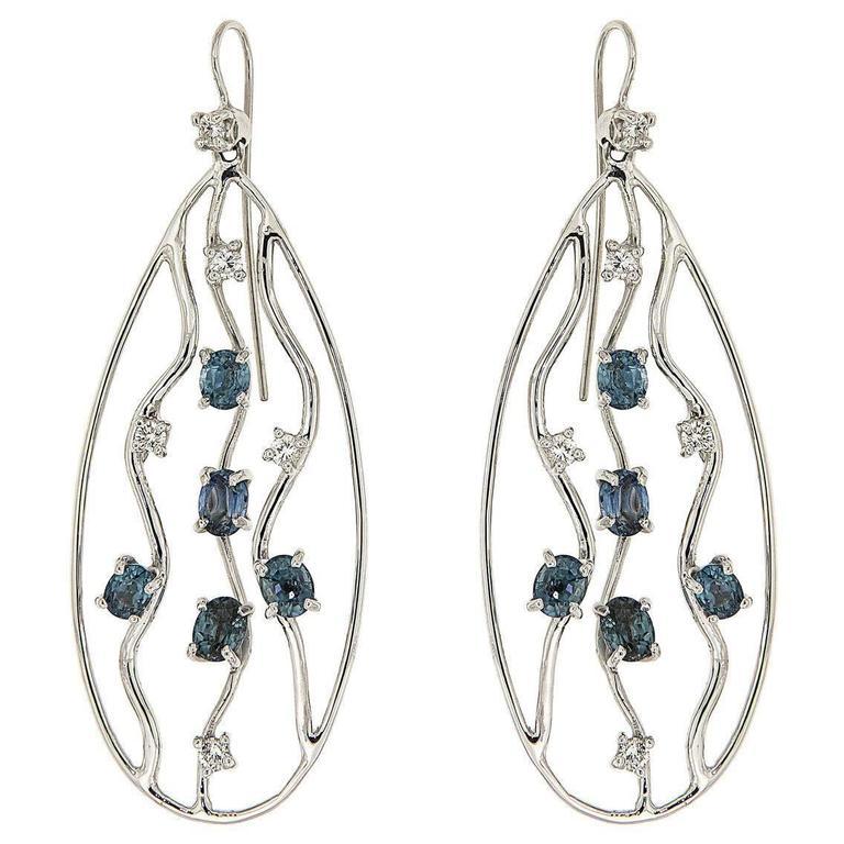 Blue Sapphires Diamonds White Gold Earrings Modern