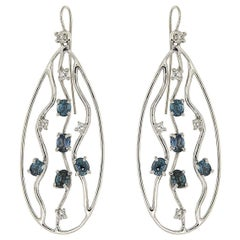 Diamonds Blue Sapphires 18K White Gold Earrings Made In Italy By Botta Gioielli