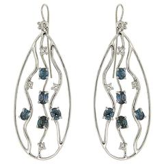 Blue Sapphires Diamonds White Gold Earrings Modern