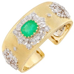 Two-Color Gold, 6.50 Carat Emerald and 2.80 Carat Diamond Cuff Bangle Bracelet