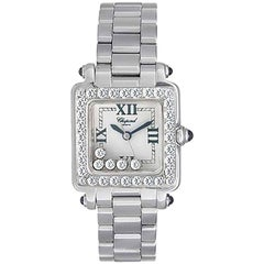 Chopard Ladies White Gold Floating Diamonds Happy Sport Quartz Wristwatch