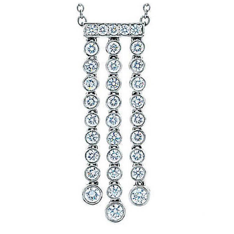 Tiffany & Co. Platinum Diamond Necklace 0.62 Carat Jazz, Triple Drop