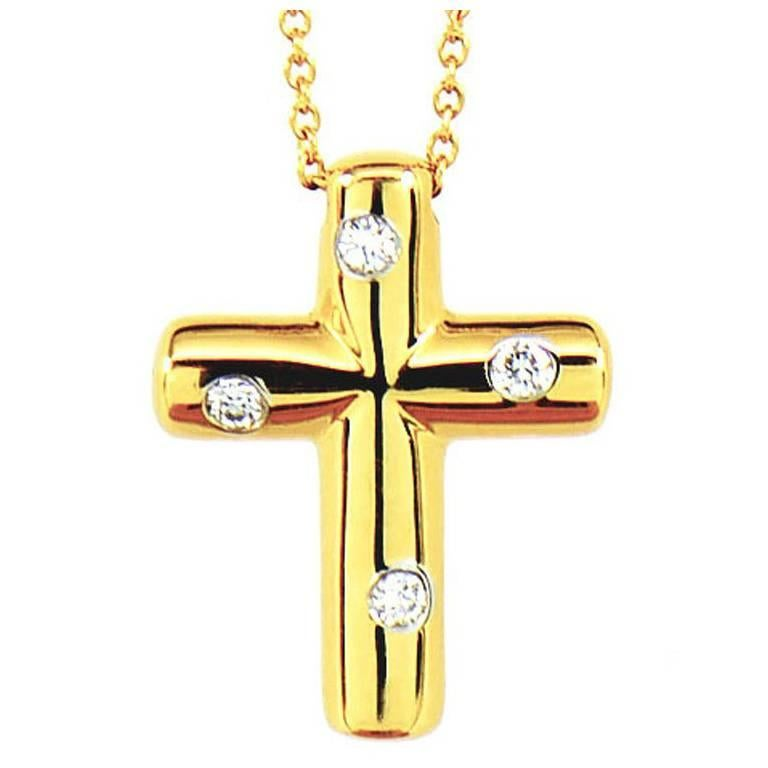TIFFANY & CO. Etoile Diamonds Cross Pendant Necklace in 18k Yellow Gold