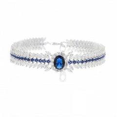 950 Fine Siledium Silver Rhodium Palladium Platine Blue and White Bracelet