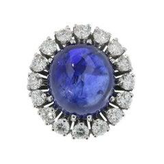 Natural Untreated 7.11 Carat Sapphire and Diamond Cabochon Ring 18 Karat Gold