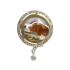 Cabochon English Crystal and Diamond Hunting Dog Brooch 18 Karat Yellow Gold