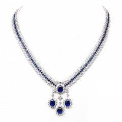 950 Fine Siledium Silver Natural Rhodium Palladium Plating White & Blue Necklace