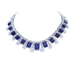 925 Fine Sterling Silver Natural Rhodium Plating White and Blue Necklace