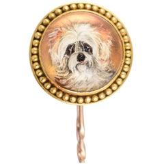 "Antique Victorian ""Shih Tzu"" Dog Essex Crystal Pin"