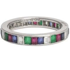 Art Deco Diamond Emerald Ruby Sapphire Platinum Eternity Band Ring