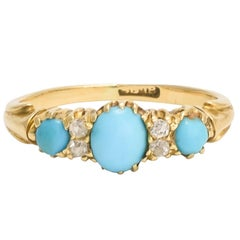 Antique Victorian Turquoise Diamond Gold Ring