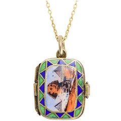 1920s Egyptian Revival Enamelled Moses Basket Pendant