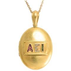 """Antique Victorian 18 Karat Gold """"AEI"""" Oval Locket Necklace"""