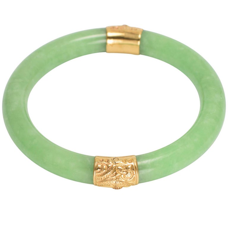 Vintage 1970s Jade and Gold Bangle