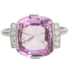 1920s Art Deco Pink Topaz Diamond Cocktail Ring