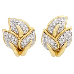 2.10 Carat Diamond and Gold Leaf Clip-On Earrings