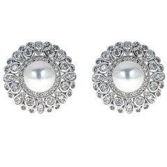 Cultured Pearl and Diamond 14 Karat Gold Earrings