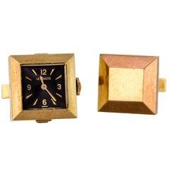 Midcentury 14 Karat LeCoultre Watch Cufflinks