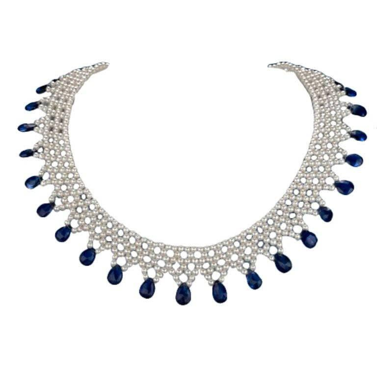 Marina J. Woven Pearl and Kyanite, Necklace