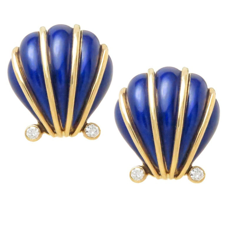 Tiffany & Company Schlumberger Gold Diamond and Enamel Shell Earrings